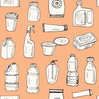 Plastic verpakkingen hand getrokken doodle naadloze patroon