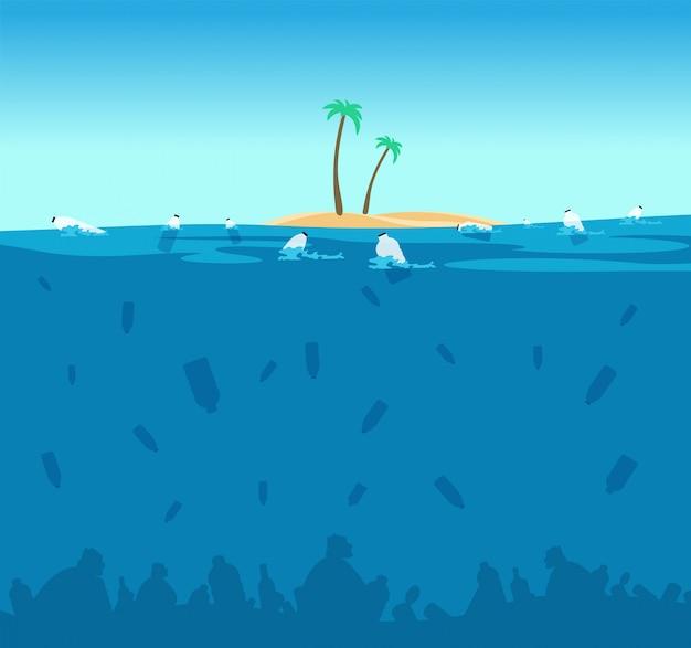 Plastic vervuiling van de oceaan. flessen, plastic zakken en puin op de zeebodem. water milieubescherming eco