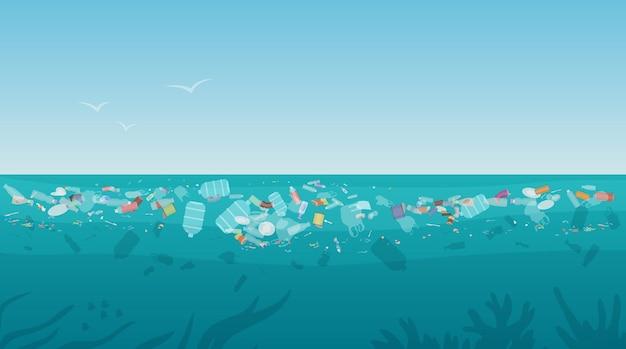 Plastic vervuilingsafval op zeeoppervlak met verschillende soorten afval
