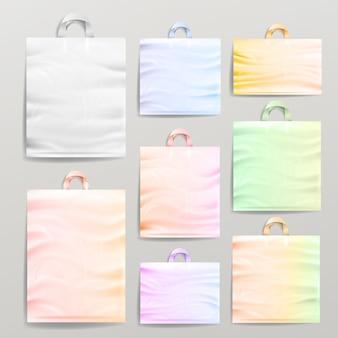 Plastic winkelen realistische tassen met handgrepen.