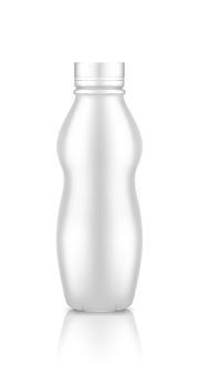 Plastic yoghurtfles met schroefdopmodel dat op witte achtergrond wordt geïsoleerd