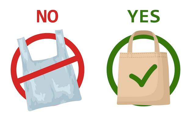 Plastic zak en eco-tas geïsoleerd. bewegwijzering waarin wordt opgeroepen het gebruik van wegwerpbare polyethyleenverpakking te stoppen.
