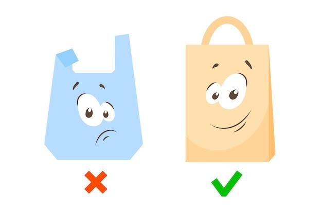 Plastic zak en papieren boodschappentas tekens droevige en vrolijke gezichten vervuilingsprobleem mascottes