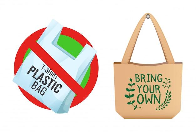 Plastic zak verboden, doorgestreept zakpictogram, geen plastic en bruine linnen ecotas met bord zelf meenemen, zorg voor het milieu