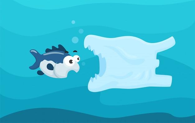 Plastic zakken in de zee die schadelijk zijn voor het leven in zee.