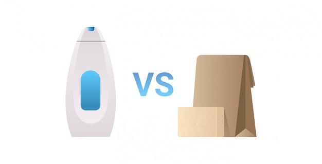 Plastic zeep shampoo fles vs natuurlijke handgemaakte organische zeep bar afval concept platte witte achtergrond horizontaal