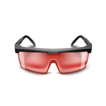 Plastic zwarte veiligheidsbril rode op witte achtergrond. werkbril oogbescherming uitrusting voor bouw, geneeskunde en sport