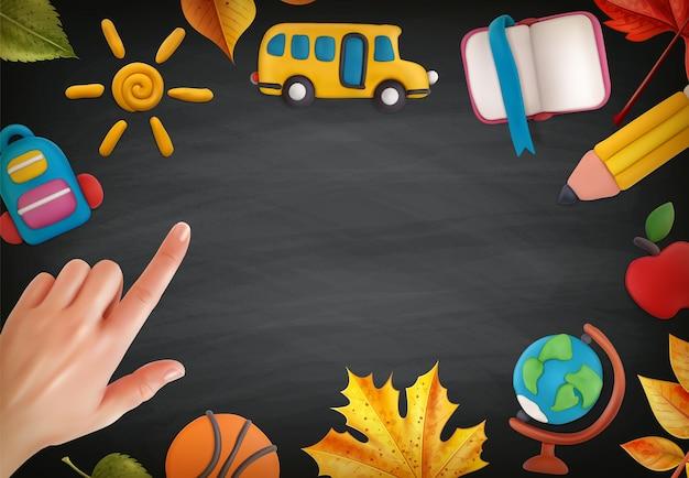 Plasticine-modellering en school op de illustratie van de schoolbordoppervlakte