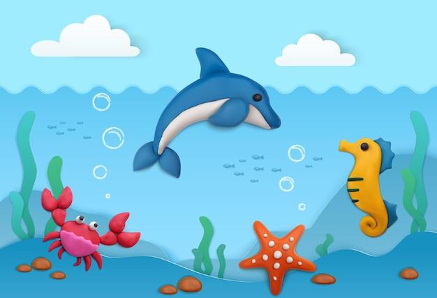 Plasticine zomer achtergrond met onderwater leven op zee
