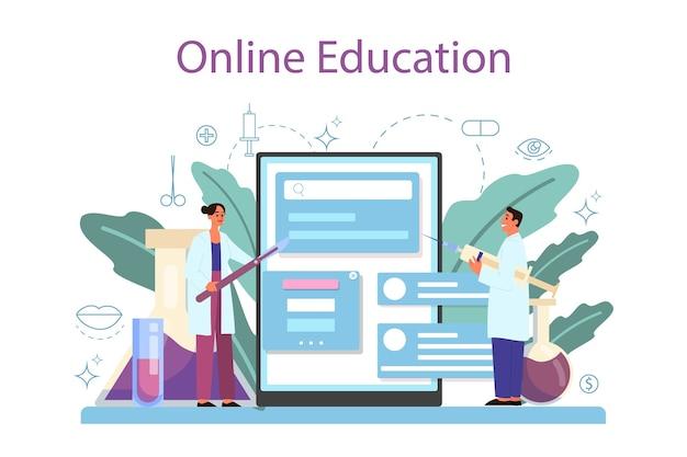 Plastisch chirurg online service of platform. idee van correctie van lichaam en gezicht. neuscorrectie in het ziekenhuis en tegen veroudering. online onderwijs.