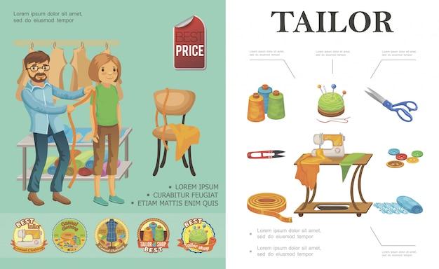 Plat afstemmen kleurrijke compositie met kleermaker neemt de meting van klantspoelen van draadschaar, stofknipper, knopen, naaimachinelabels