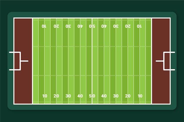 Plat amerikaans voetbalveld in bovenaanzicht