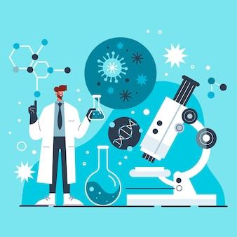 Plat biotechnologie concept geïllustreerd
