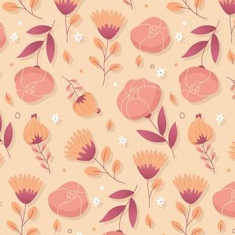 Plat bloemenpatroon in perziktinten