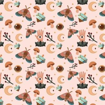 Plat boho-patroon met vlinders