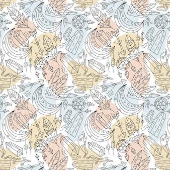 Plat boho-stijlpatroon met bladeren