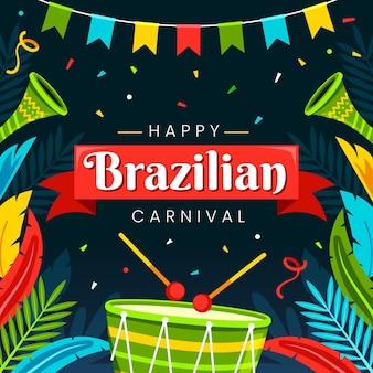 Plat braziliaans carnaval met instrumenten