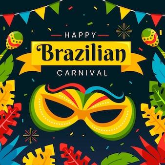 Plat braziliaans carnaval met muziekinstrumenten