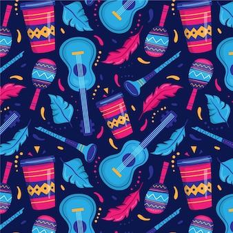 Plat braziliaans carnaval-patroon met instrumenten