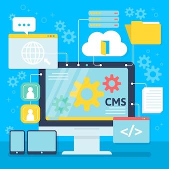 Plat cms-concept op een desktopscherm