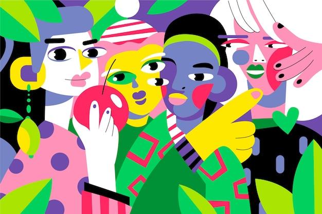 Plat design portret in kunststijl in felle kleuren
