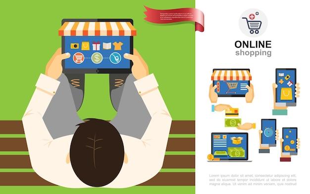 Plat e-commerce concept met mensen die producten en goederen in online winkels kopen met behulp van tablets, laptops, telefoons