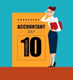 Plat eenvoudig vriendelijk mensenkarakter. accountantsdag. persoon pictogram geïsoleerd. bedrijfsconcept.