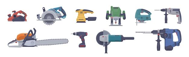 Plat elektrisch gereedschapset. geïsoleerde elektrische gereedschappen. illustratie. verzameling