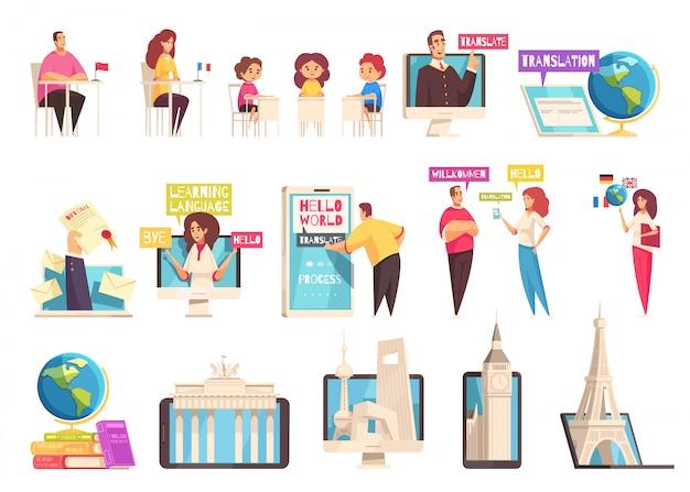 Plat en geïsoleerd leren taaltrainingscentrum icon set met mensen van verschillende leeftijden studeren in de klaslokalen