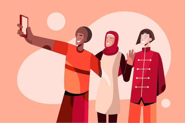 Plat etnische vriendschap concept illustratie