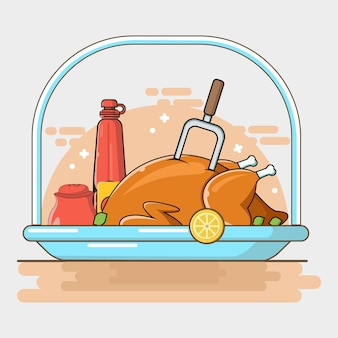 Plat fastfood in platte lijn kunst illustratie