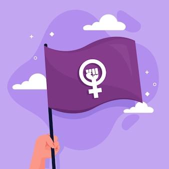 Plat feministische vlag illustratie