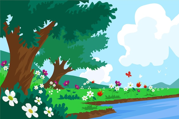 Plat gedetailleerd de lentelandschap met blauwe hemel