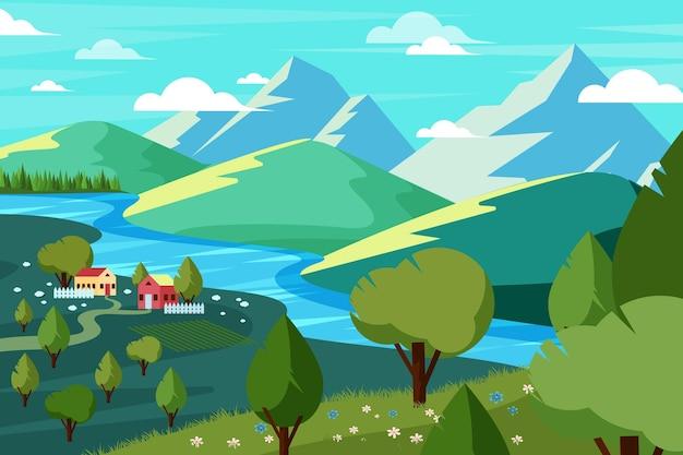 Plat gedetailleerd lentelandschap