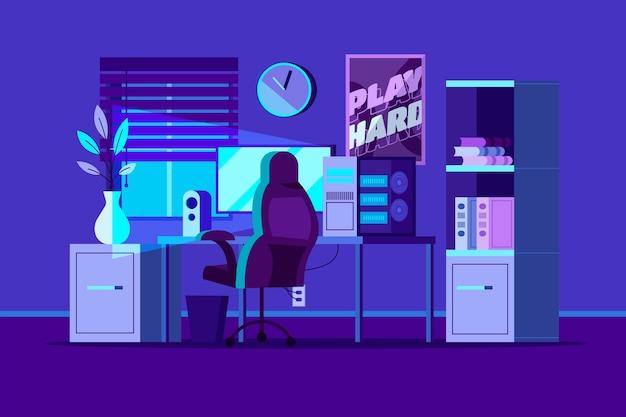 Plat gedetailleerde gamer kamer