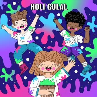 Plat gedetailleerde kleurrijke holi gulal illustratie