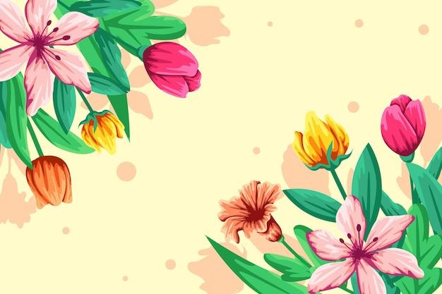 Plat gedetailleerde kleurrijke lente achtergrond