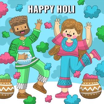 Plat gedetailleerde mensen vieren holi festival illustratie