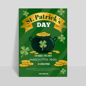 Plat gedetailleerde st. patrick's day flyer