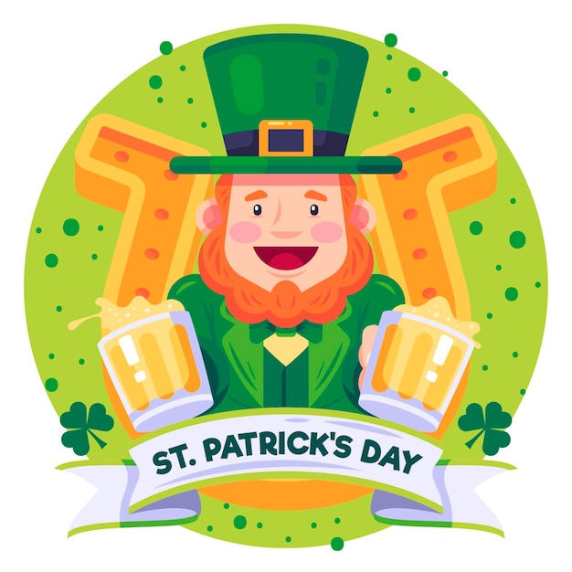 Plat gedetailleerde st. patrick's day kabouter