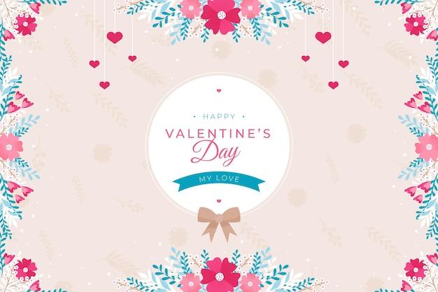 Plat geïllustreerd valentijnsdag behang