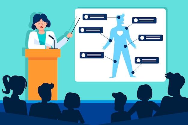 Plat geïllustreerde medische conferentie