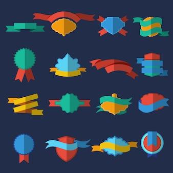 Plat gekleurde en geïsoleerde ontwerpbadges en linten voor verschillende doeleinden