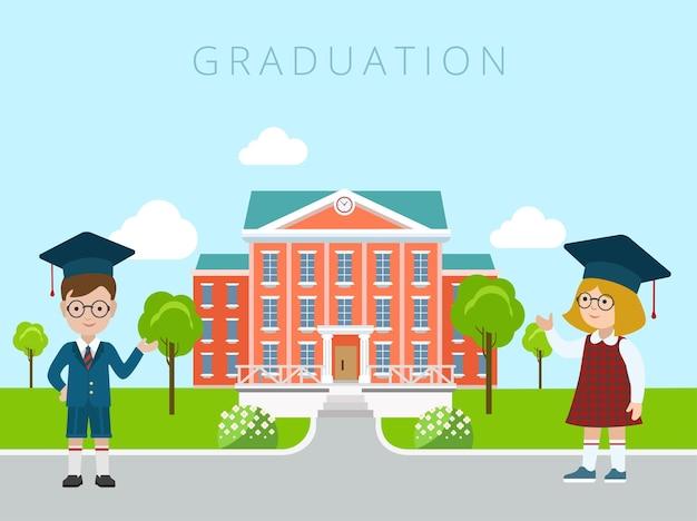 Plat gelukkig gracieus jongen en meisje studenten verwelkomend gebaar naar schoolgebouw illustratie. onderwijs en kennis, terug naar schoolconcept.