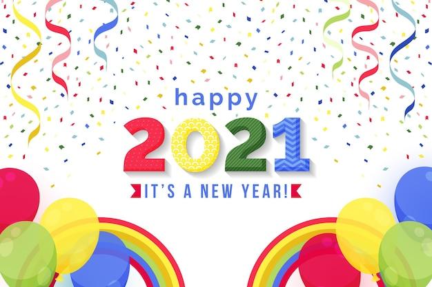 Plat gelukkig nieuwjaar 2021