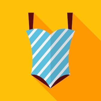 Plat gestreept badpak met lange schaduw. vectorillustratie plat gestileerd
