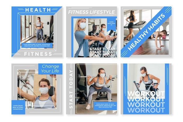 Plat gezondheids- en fitness-instagram-postpakket
