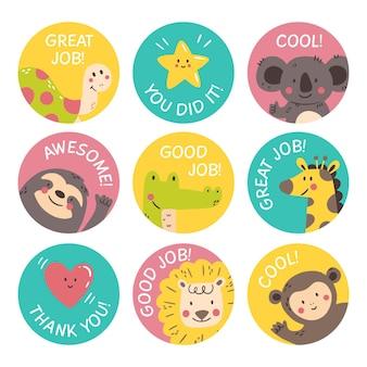 Plat goed werk en geweldig werk stickerspakket