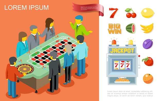 Plat gokken kleurrijk concept met mensen die roulette spelen in casino nummer zeven en fruitsymbolen voor gokautomaat