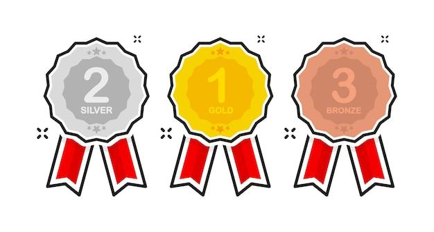 Plat gouden pictogram winnaar 3d-vector prestatiebadge premiumkwaliteit plat ontwerp gouden metaal